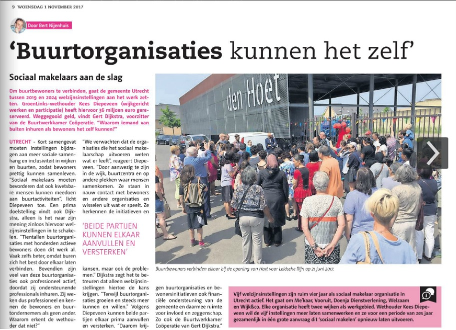 Stadsblad Utrecht: BuurtWerkKamer goedkoper dan welzijnsorganisaties